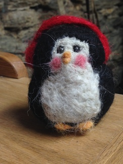 Hand felted Penguin with Ear Muffs