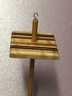 Striped Laminate drop spindle