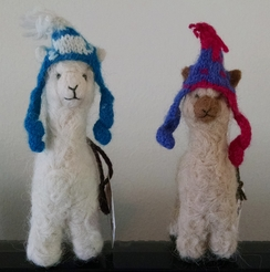 Needle Felted Alpaca with Hat