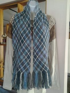 Hand woven windowpane scarf