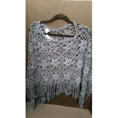 Crocheted Alpaca Poncho with roses