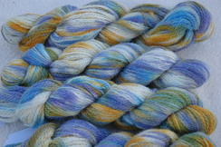 Blue, green and gold yarn