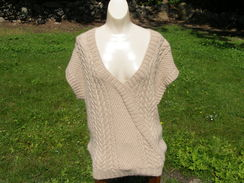 100% Alpaca, Short Sleeve Cable Pullover