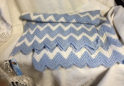 Baby Blanket - Blue & White