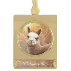 Alpaca Christmas Gold Plated Ornament