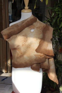 Photo of Rust Dyed Nuno-Felted Shawl