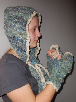 Photo of Alpaca hooded scarf & matching gloves