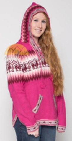 Alpaca Motif hooded zip-up sweater