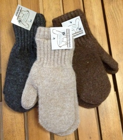 Boucle'-lined Alpaca Mittens