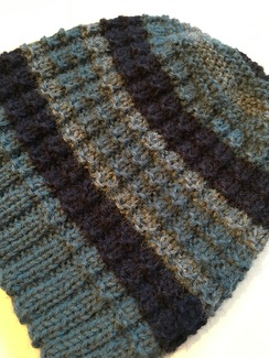 Photo of Hand Knit Alpaca Hat in Shades of Blue