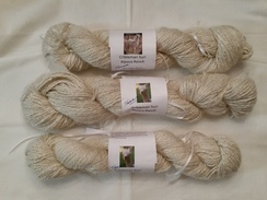 Handspun natural white and silk yarn