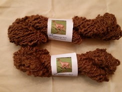 Natural brown handspun yarn with copper