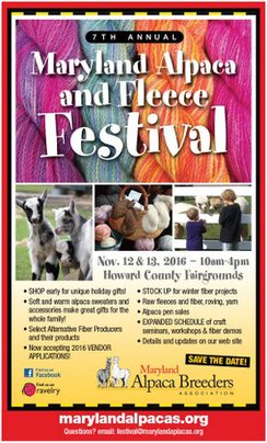 Join us for our annual Alpaca & Fleece festival! Click 'Fiber Festival' tab above for more info.