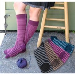 Red Maple Striped Knee Sock