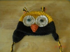 Crocheted alpaca Owl hat