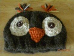 Handknit Owl Beanie Hat