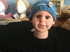 Photo of Baby Blue Button Alpaca Hat