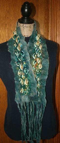 Photo of Alpaca Nuno Felted Arashi Shibori - SOLD