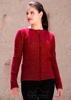 Ladies Alpaca Boucle' Zip Cardigan