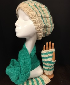 Handmade Alpaca Hat & Mittens - Spiral and Stripes
