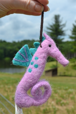Photo of Felted Sculpture: Purple Seahorse