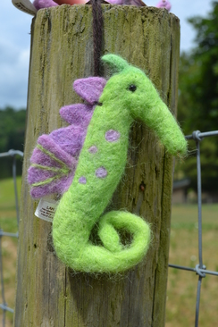 Photo of Felted Sculpture: Green Seahorse