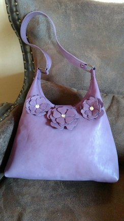 Alpaca Leather Hobo Bag-Lavender