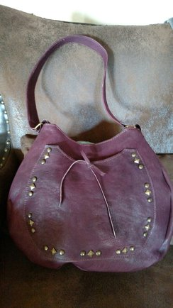 Photo of Alpaca Leather-Round Burgundy Purse