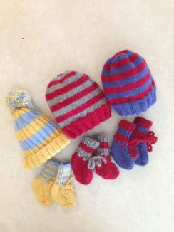 Hand-knit Stripped Baby Sets