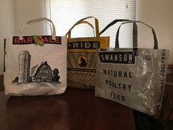 Photo of Repurposed feed bag totes