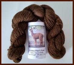 Baby Alpaca Yarn Dark Brown 200 Yds.