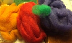 Photo of Roving Dyed Red, Green, Pumpkin, Spice