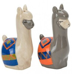 Painted Alpaca-Llama Salt & Pepper Set