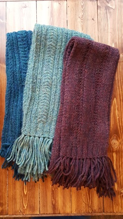 Hand-Knit Fancy Cable Knit Scarves