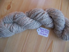 Hand spun beige yarn w/silver and blue
