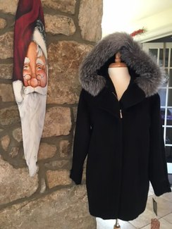Alpaca/Wool/Fox Coat with Hood