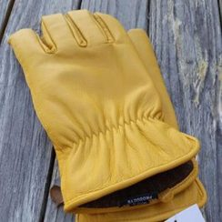 Photo of Alpaca Knit Lined Cowhide Leather Gloves