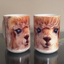 12 Ounce Ceramic Alpaca-Face Mugs
