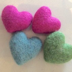 Felted Alpaca Hearts