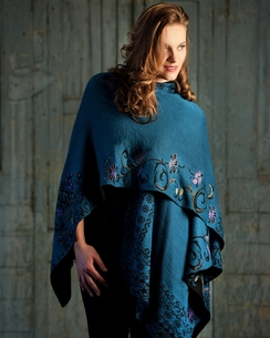 Photo of Teal Reversible Alpaca Ruana