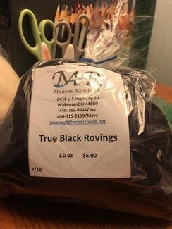 Alpaca Roving True Black