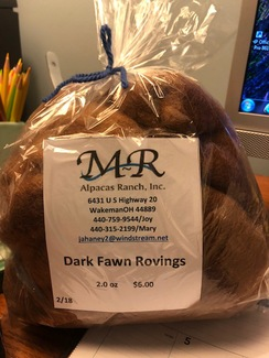 Alpaca Roving Dark Fawn