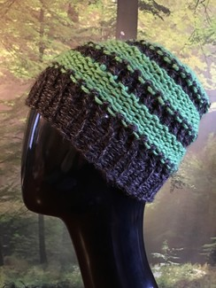 Photo of GGF Handknit-Grey and Green Slouch Hat