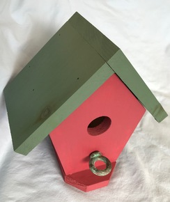 Birdhouse - Barn Red and Forest Green