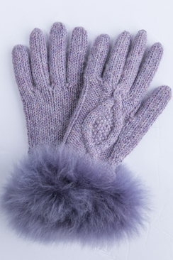 Photo of Gloves - Cable Alpaca Gloves with Fur
