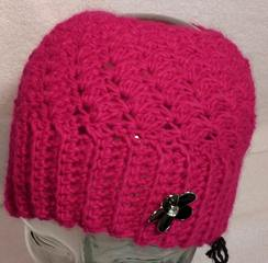 Messy Bun Hat/Earwarmer in Hot Pink