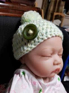 Pom and Button Baby Hat