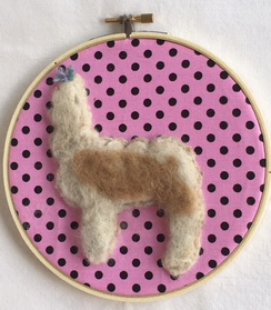 "Photo of SALE6"" Round Framed Needle Felted Alpaca"