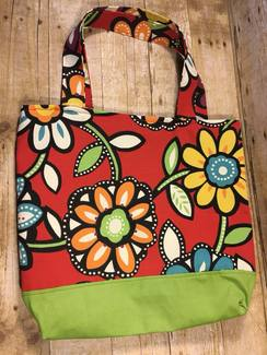 Red Floral Tote or Project Bag- SOLD