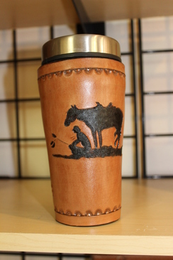 Photo of Leather Art - Hand Tooled Coffee Carafe